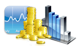 графика със златни монети